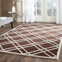 Safavieh Handmade Moroccan Cambridge Dark Brown/ Ivory Geometric Wool Rug - 9' X 12'