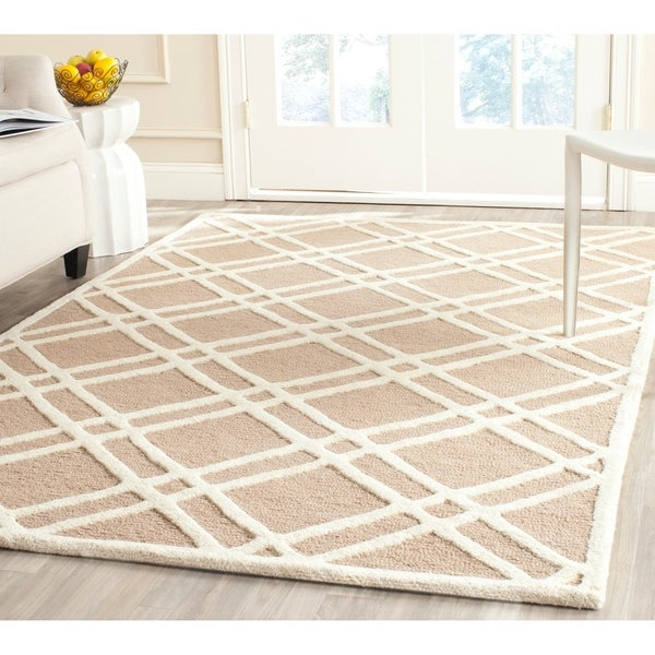 Safavieh Handmade Moroccan Cambridge Crisscross-pattern Beige/ Ivory Wool Rug - 9' x 12'