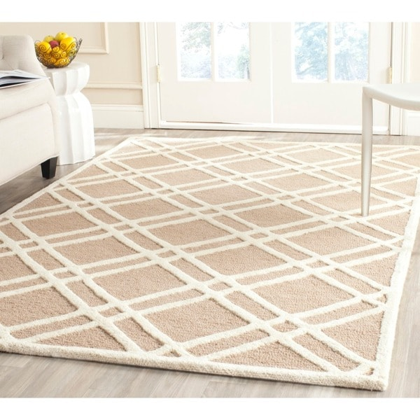 Safavieh Handmade Moroccan Cambridge Crisscross-pattern Beige/ Ivory Wool Rug (9' x 12')