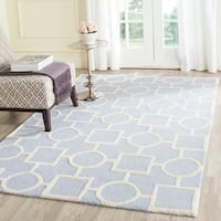Safavieh Handmade Moroccan Cambridge Light Blue/ Ivory Wool Rug - 9' x 12'
