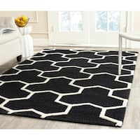 Safavieh Handmade Moroccan Cambridge Black/ Ivory Wool Indoor Rug - 9' x 12'