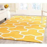 Safavieh Handmade Moroccan Cambridge Gold/ Ivory Wool Rug with High/ Low Construction - 9' x 12'