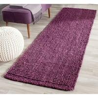 "Safavieh Casual Natural Fiber Hand-Woven Purple Chunky Thick Jute Rug - 2'6"" x 6'"
