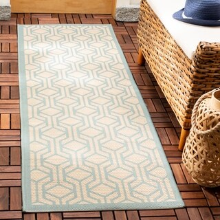Safavieh Courtyard Modern Geometric Beige/ Aqua Indoor/ Outdoor Rug (2'3 x 6'7)
