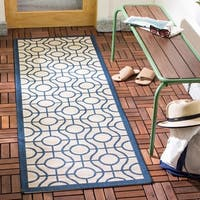 Safavieh Courtyard Modern Ogee Beige/ Navy Indoor/ Outdoor Rug - 2'3 x 6'7