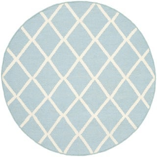 Safavieh Hand-woven Moroccan Reversible Dhurries Light Blue/ Ivory Wool Rug (4' Round)