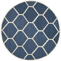 Safavieh Handmade Moroccan Cambridge Contemporary Navy/ Ivory Wool Rug - 6' Round