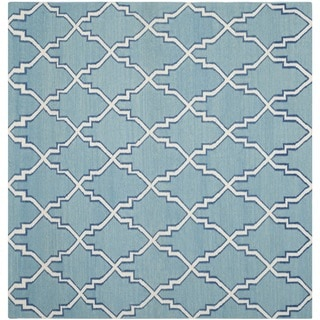 Safavieh Hand-woven Moroccan Reversible Dhurries Light Blue/ Ivory Wool Rug (6' Square)