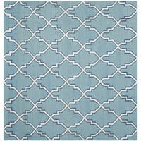 Safavieh Hand-woven Moroccan Reversible Dhurries Light Blue/ Ivory Wool Rug - 6' Square