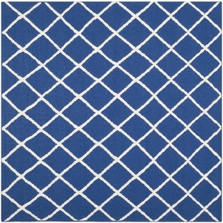Safavieh Handwoven Moroccan Reversible Dhurries Dark Blue Wool Area Rug (6' Square)