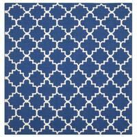 Safavieh Hand-woven Moroccan Reversible Dhurries Dark Blue Wool Rug - 6' Square