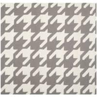 Safavieh Handwoven Moroccan Reversible Dhurries Grey/ Ivory Wool Area Rug - 6' x 6' Square