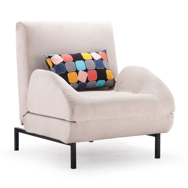 Grey Fabric Steel Arm Chair Sleeper