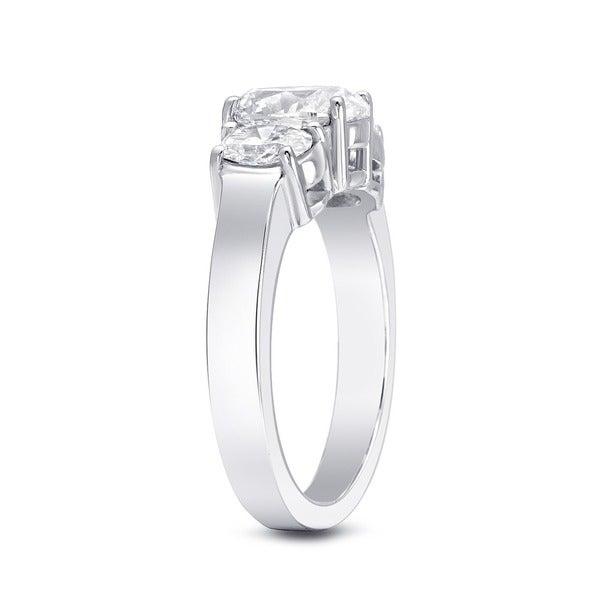 14k 2 1/3ct TDW Certified Three Stone Oval Diamond Engagement Ring by Auriya