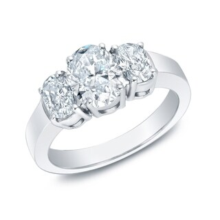 Auriya 14k Gold 2 1/3ctw Oval 3-Stone Diamond Engagement Ring