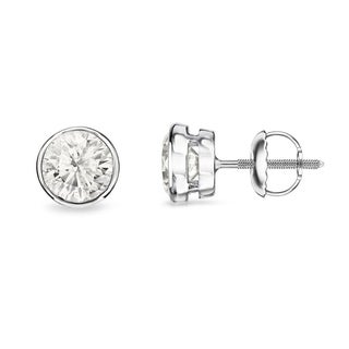 Auriya 14k Gold 1/3ct TDW Round Bezel Diamond Stud Earrings (H-I, SI1-SI2)