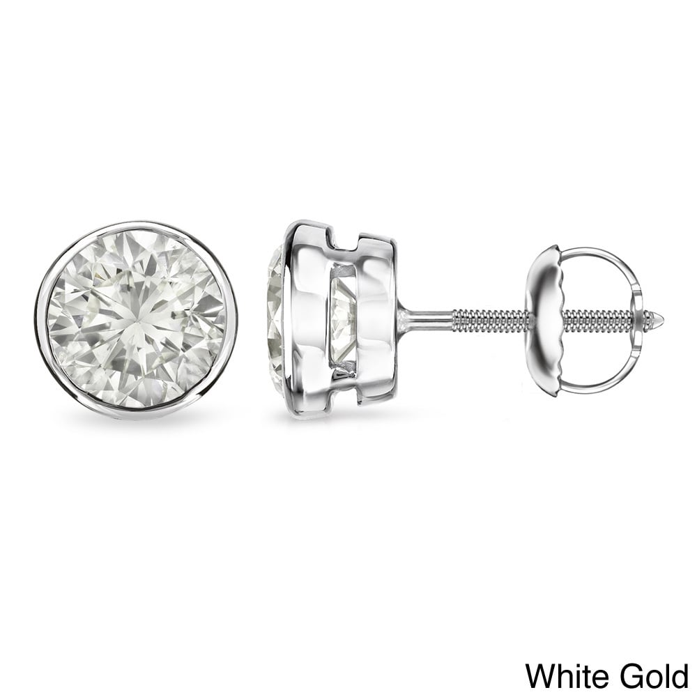 Auriya 14k Gold 1 1/2ct TDW Certified Diamond Bezel Earri...