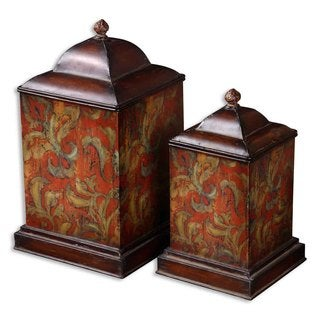 Uttermost Colorful Flowers Canisters (Set of 2)