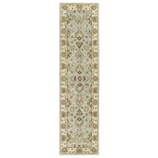 Anabelle Spa Blue Hand-tufted Wool Area Rug (2'6 x 10')
