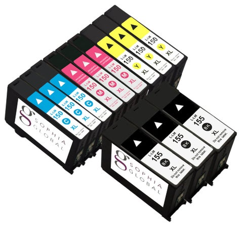 Sophia Global Compatible Ink Cartridge Replacement for Lexmark 155XL/ 150XL (3 Black/ 3 Cyan/ 3 Yellow/ 3 Magenta)