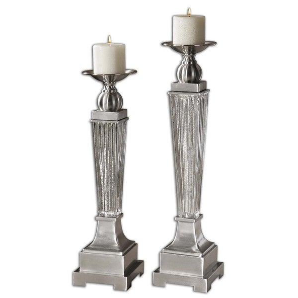 Uttermost 'Canino' Brushed Aluminum Candle Holders (Set of 2)