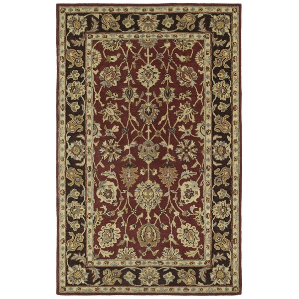 Anabelle Burgundy Hand-tufted Wool Area Rug - 10' x 14'