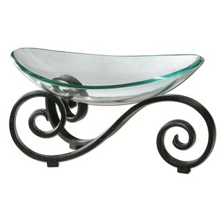 Uttermost 'Arla' Clear Glass Bowl and Black Stand