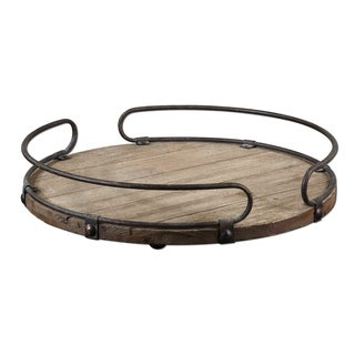Uttermost Acela Natural Wood Round Wine Tray