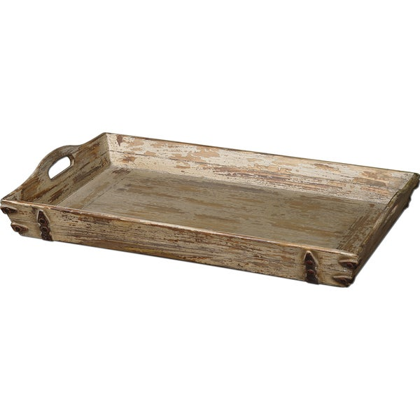 Uttermost Abila Distressed Cream Wooden Tray. Opens flyout.
