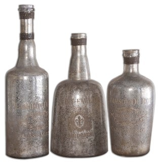 Uttermost Lamaison Silver Mercury Glass Bottles (Set of 3)