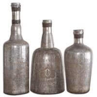 Uttermost Lamaison Silver Mercury Glass Bottles (Set of 3)