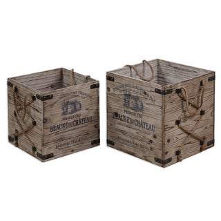 Uttermost Bouchard Rustic Wood Crates (Set of 2)