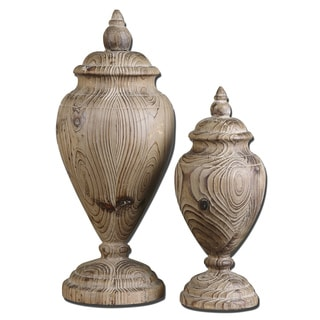 Uttermost Brisco Carved Wood Finials (Set of 2)