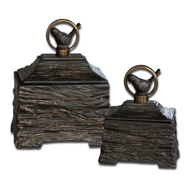 Uttermost Birdie Metallic Grey Boxes (Set of 2)