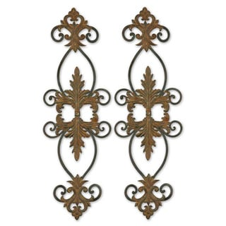 Uttermost Lacole Distressed Rust Brown Metal Wall Art (Set of 2)