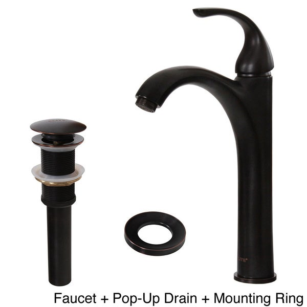 Elite Tall Single Handle Oil-rubbed Bronze Bathroom Vessel Sink Faucet and Pop-up Drain