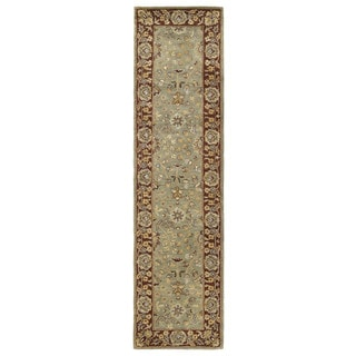 Anabelle Olive Green Hand-tufted Wool Area Rug (2'6 x 10')