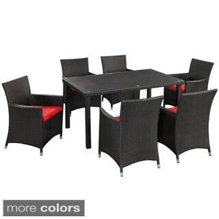Art Deco Espresso Red 7-Piece Outdoor Patio Dining Set