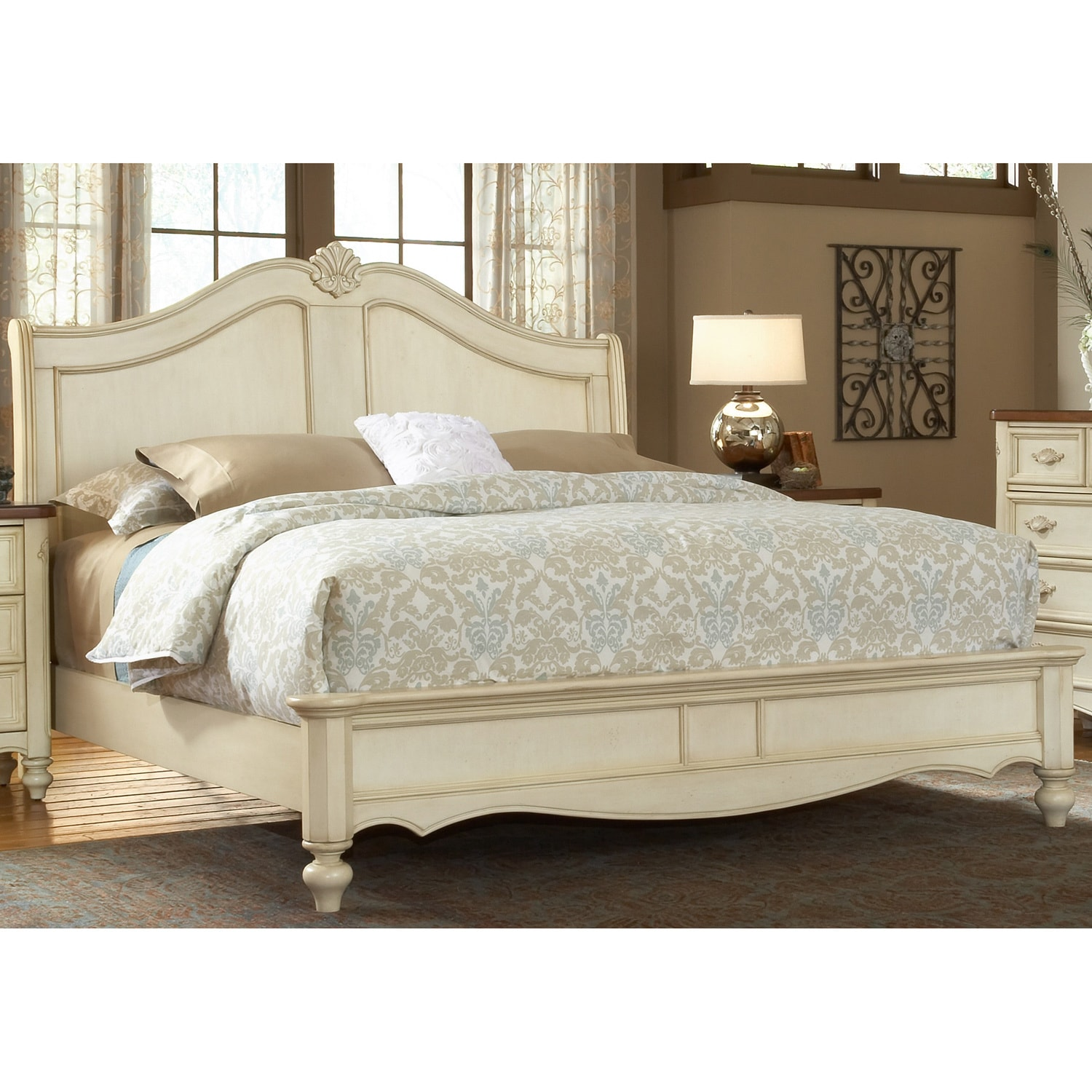 Crescent Manor Antique White Sleigh Bed by Greyson Living...