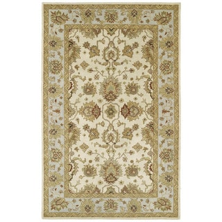 Hand-tufted Anabelle Ivory Traditional Wool Rug (5' x 7'9)