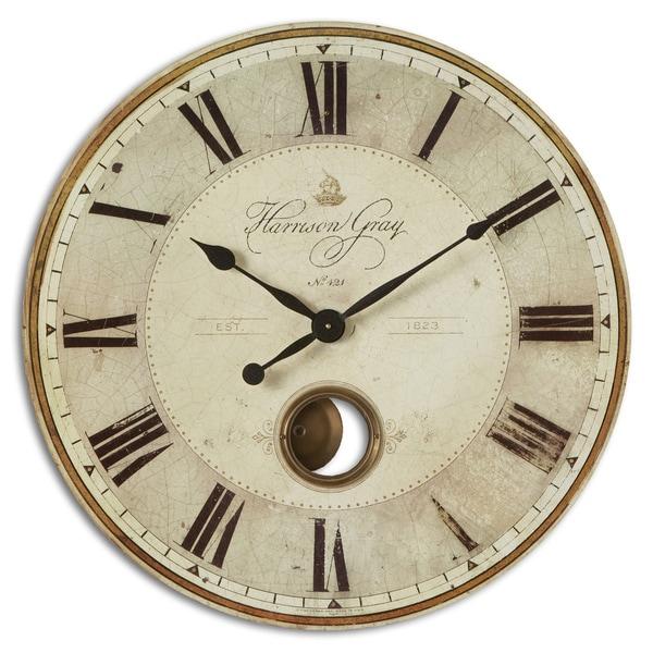 Home Goods Clocks: Shop Uttermost 'Harrison' Grey 30-inch Wall Clock