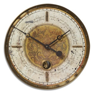 Uttermost 'Leonardo' Cream Script 18-inch Wall Clock