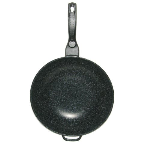 Mega Cook 12-inch Non-stick Stone Marble Forged Aluminum Frying Pan Wok