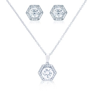 Blue Box Jewels Hexagon Shape Necklace and Earring Set