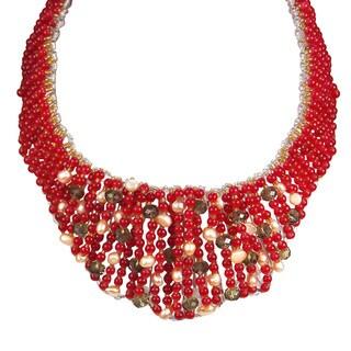 Handmade Bold Cascades Mix Stone Collar Statement Necklace (Thailand)