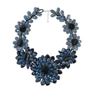 Handmade Sparkling Blue Floral Princess Crystal Necklace (Thailand)