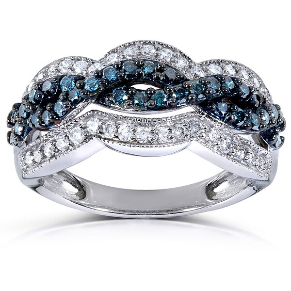 Annello by Kobelli 14k White Gold 3/4ct TDW Blue and White Diamond Twisted Ring (H-I, I1-