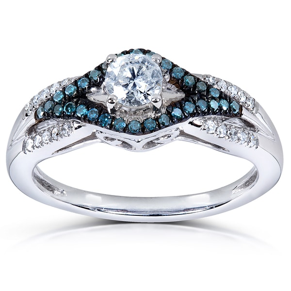 Annello by Kobelli 14k White Gold 1/2ct TDW Blue and White Round-cut Diamond Ring (H-I, I
