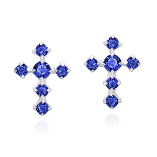 Spiritual Cross Cubic Zirconia .925 Silver Stud Earrings (Thailand)