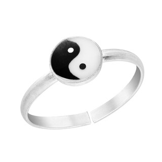 Handmade Cute Yin Yang Balance .925 Silver Toe or Pinky Ring (Thailand)